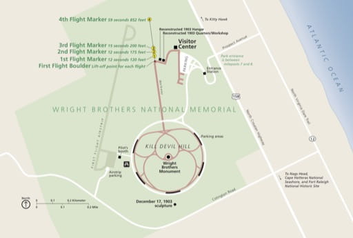Official visitor map of Wright Brothers National Memorial (NMEM) in North Carolina. Published by the National Park Service (NPS).