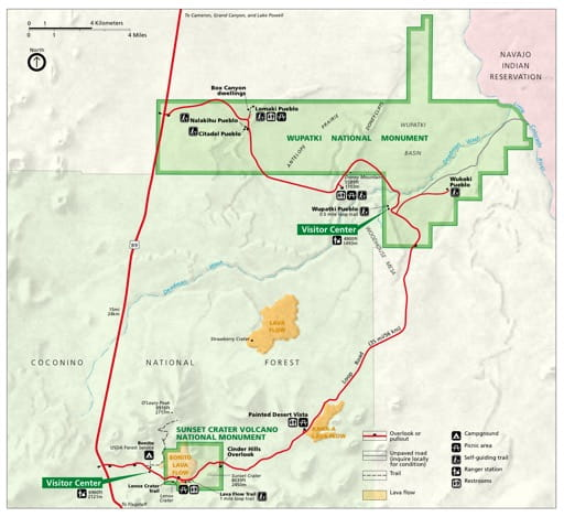 Official visitor map of Wupatki National Monument (NM) in Arizona. Published by the National Park Service (NPS).