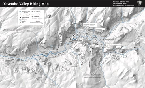 Map of hiking trails in the Yosemite Valley in Yosemite National Park (NP) in California. Published by the National Park Service (NPS).