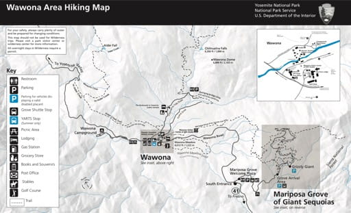 Map of hiking trails in the Wawona area in Yosemite National Park (NP) in California. Published by the National Park Service (NPS).