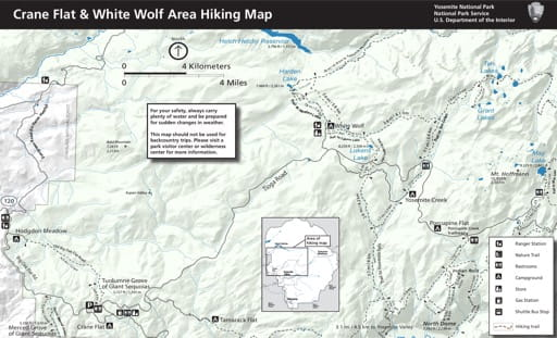 Map of hiking trails in the Crane Flat & White Wolf area in Yosemite National Park (NP) in California. Published by the National Park Service (NPS).
