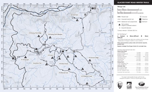 Map of Glacier Point Road Winter Trails in Yosemite National Park (NP) in California. Published by the National Park Service (NPS).