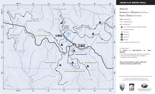Map of Crane Flat Winter Trails in Yosemite National Park (NP) in California. Published by the National Park Service (NPS).