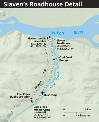 Detail Map of Slaven's Roadhouse area in Yukon-Charley Rivers National Preserve (NPRES) in Alaska. Published by the National Park Service (NPS).