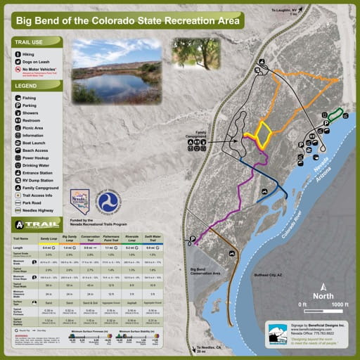 Recreation Map of Big Bend of the Colorado State Recreation Area (SRA) in Nevada. Published by Nevada State Parks.