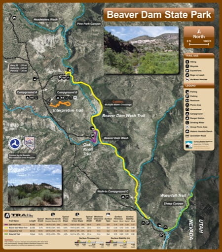 Recreation Map of Beaver Dam State Park (SP) in Nevada. Published by Nevada State Parks.