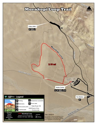 Map of Moenkopi Loop Trail at Red Rock Canyon National Conservation Area (NCA) in Nevada. Published by the Bureau of Land Management (BLM).