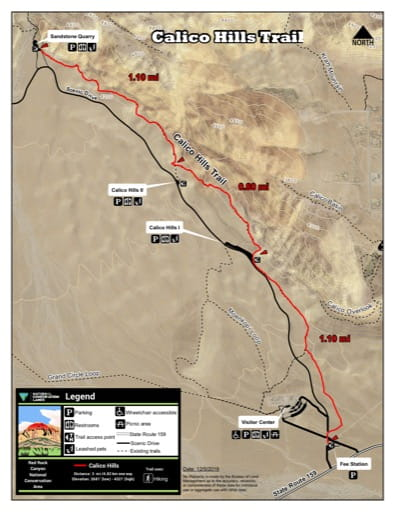 Map of Calico Hills Trail at Red Rock Canyon National Conservation Area (NCA) in Nevada. Published by the Bureau of Land Management (BLM).