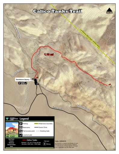 Map of Calico Tanks Trail at Red Rock Canyon National Conservation Area (NCA) in Nevada. Published by the Bureau of Land Management (BLM).