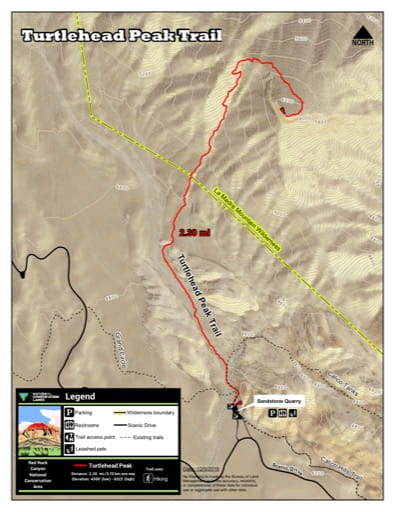 Map of Turtlehead Peak Trail at Red Rock Canyon National Conservation Area (NCA) in Nevada. Published by the Bureau of Land Management (BLM).