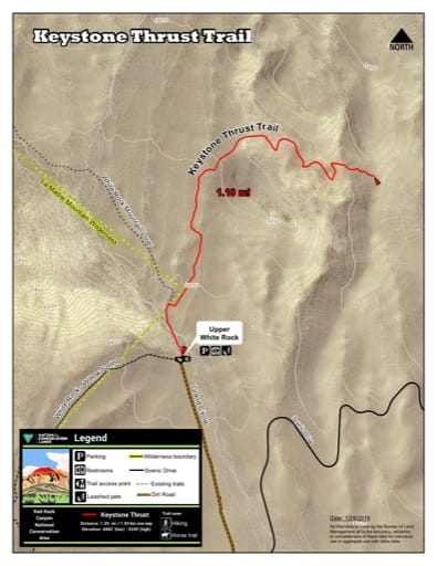 Map of Keystone Thrust Trail at Red Rock Canyon National Conservation Area (NCA) in Nevada. Published by the Bureau of Land Management (BLM).