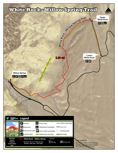 Map of White Rock - Willow Spring Trail at Red Rock Canyon National Conservation Area (NCA) in Nevada. Published by the Bureau of Land Management (BLM).