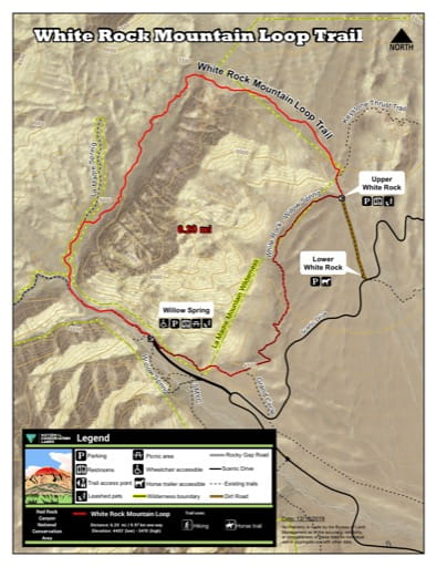 Map of White Rock Mountain Loop Trail at Red Rock Canyon National Conservation Area (NCA) in Nevada. Published by the Bureau of Land Management (BLM).