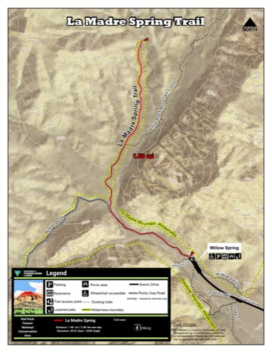 Map of La Madre Spring Trail at Red Rock Canyon National Conservation Area (NCA) in Nevada. Published by the Bureau of Land Management (BLM).