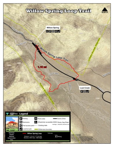 Map of Willow Spring Loop Trail at Red Rock Canyon National Conservation Area (NCA) in Nevada. Published by the Bureau of Land Management (BLM).