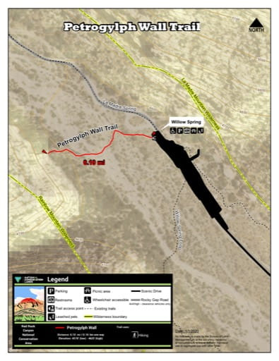 Map of Petroglyph Wall Trail at Red Rock Canyon National Conservation Area (NCA) in Nevada. Published by the Bureau of Land Management (BLM).