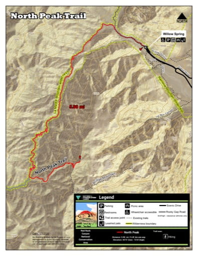 Map of North Peak Trail at Red Rock Canyon National Conservation Area (NCA) in Nevada. Published by the Bureau of Land Management (BLM).