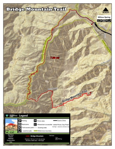 Map of Bridge Mountain Trail at Red Rock Canyon National Conservation Area (NCA) in Nevada. Published by the Bureau of Land Management (BLM).