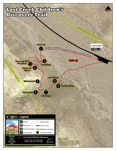 Map of Lost Creek Children's Discovery Trail at Red Rock Canyon National Conservation Area (NCA) in Nevada. Published by the Bureau of Land Management (BLM).