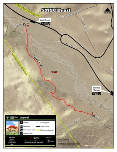 Map of the Spring Mountain Youth Camp SMYC Trail at Red Rock Canyon National Conservation Area (NCA) in Nevada. Published by the Bureau of Land Management (BLM).