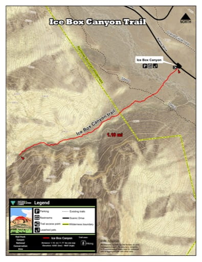 Map of Ice Box Canyon Trail at Red Rock Canyon National Conservation Area (NCA) in Nevada. Published by the Bureau of Land Management (BLM).