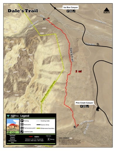 Map of Dale's Trail at Red Rock Canyon National Conservation Area (NCA) in Nevada. Published by the Bureau of Land Management (BLM).