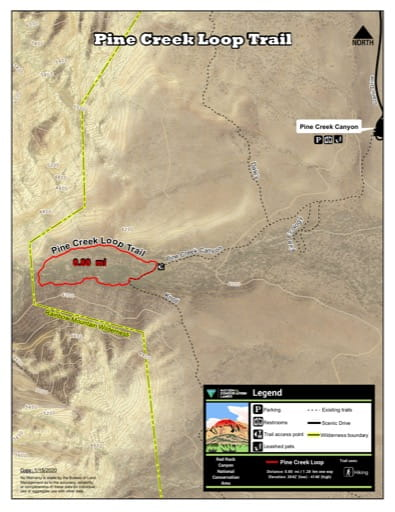 Map of Pine Creek Loop Trail at Red Rock Canyon National Conservation Area (NCA) in Nevada. Published by the Bureau of Land Management (BLM).