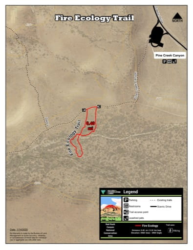 Map of Fire Ecology Trail at Red Rock Canyon National Conservation Area (NCA) in Nevada. Published by the Bureau of Land Management (BLM).