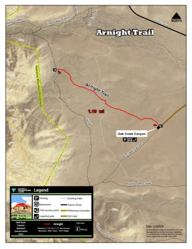 Map of Arnight Trail at Red Rock Canyon National Conservation Area (NCA) in Nevada. Published by the Bureau of Land Management (BLM).