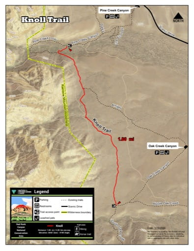 Map of Knoll Trail at Red Rock Canyon National Conservation Area (NCA) in Nevada. Published by the Bureau of Land Management (BLM).