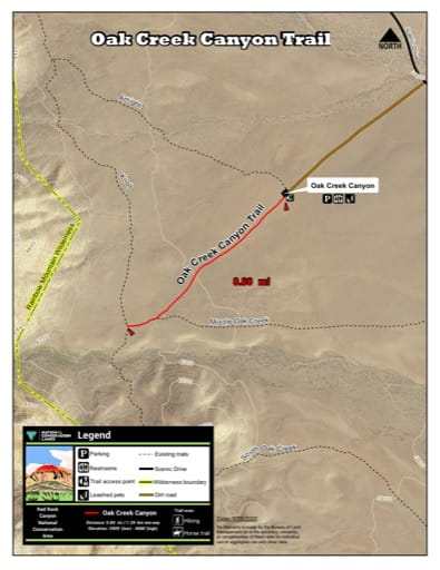 Map of Oak Creek Canyon Trail at Red Rock Canyon National Conservation Area (NCA) in Nevada. Published by the Bureau of Land Management (BLM).