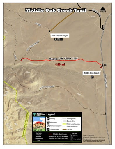 Map of Middle Oak Creek Trail at Red Rock Canyon National Conservation Area (NCA) in Nevada. Published by the Bureau of Land Management (BLM).