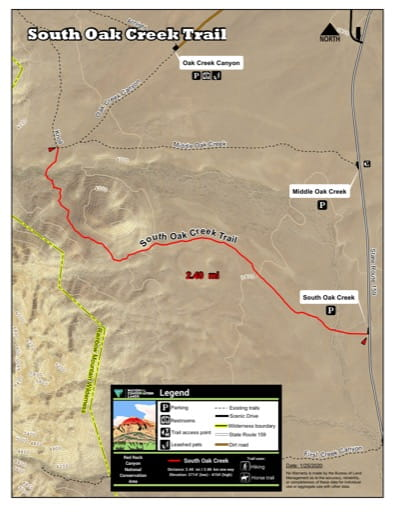 Map of South Oak Creek Trail at Red Rock Canyon National Conservation Area (NCA) in Nevada. Published by the Bureau of Land Management (BLM).