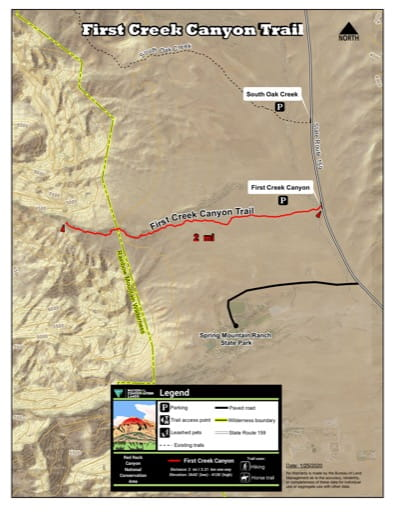 Map of First Creek Canyon Trail at Red Rock Canyon National Conservation Area (NCA) in Nevada. Published by the Bureau of Land Management (BLM).