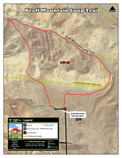 Map of Kraft Mountain Loop Trail at Red Rock Canyon National Conservation Area (NCA) in Nevada. Published by the Bureau of Land Management (BLM).