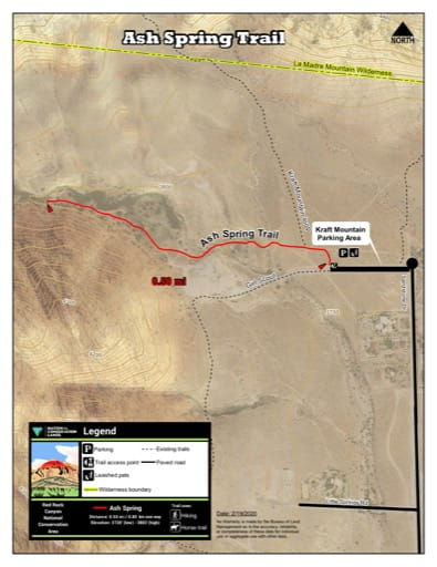 Map of Ash Spring Trail at Red Rock Canyon National Conservation Area (NCA) in Nevada. Published by the Bureau of Land Management (BLM).