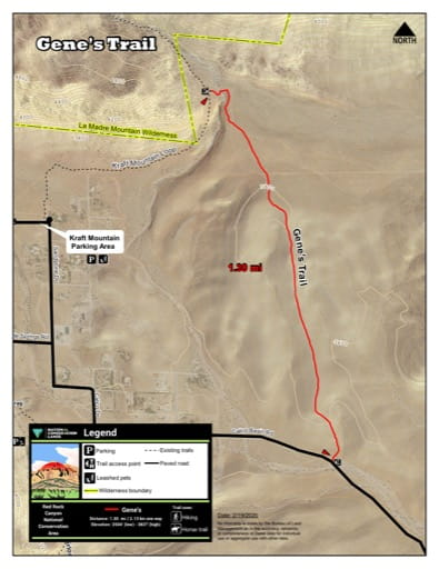 Map of Ash Gene's Trail at Red Rock Canyon National Conservation Area (NCA) in Nevada. Published by the Bureau of Land Management (BLM).