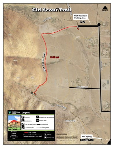 Map of Girl Scout Trail at Red Rock Canyon National Conservation Area (NCA) in Nevada. Published by the Bureau of Land Management (BLM).