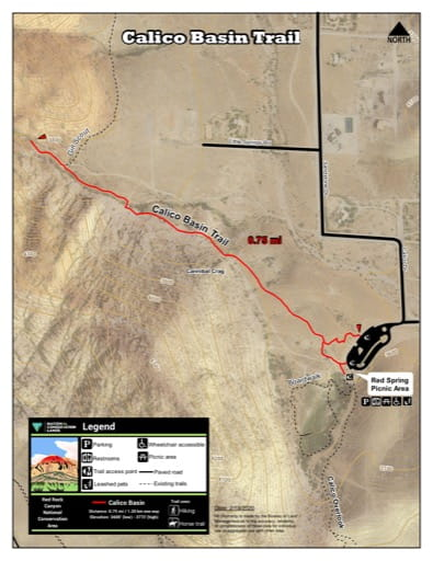 Map of Calico Basin Trail at Red Rock Canyon National Conservation Area (NCA) in Nevada. Published by the Bureau of Land Management (BLM).