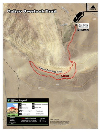 Map of Calico Overlook Trail at Red Rock Canyon National Conservation Area (NCA) in Nevada. Published by the Bureau of Land Management (BLM).