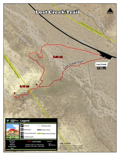 Map of Lost Creek Trail at Red Rock Canyon National Conservation Area (NCA) in Nevada. Published by the Bureau of Land Management (BLM).