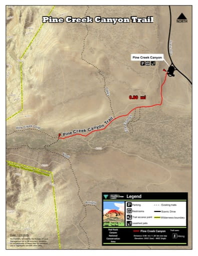 Map of Pine Creek Canyon Trail at Red Rock Canyon National Conservation Area (NCA) in Nevada. Published by the Bureau of Land Management (BLM).