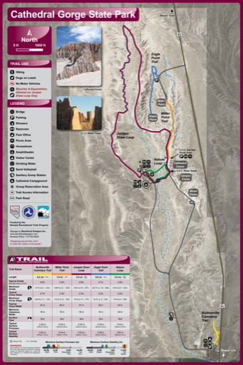 Recreation Map of Cathedral Gorge State Park (SP) in Nevada. Published by Nevada State Parks.