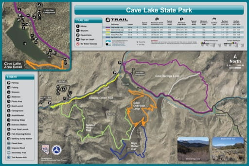 Recreation Map of Cave Lake State Park (SP) in Nevada. Published by Nevada State Parks.