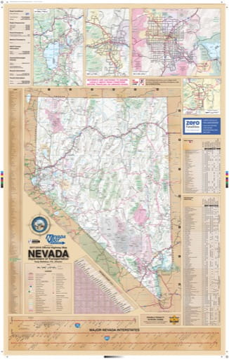 Official Nevada State Highway Map. Published by the Nevada Department of Transportation (NVDOT).