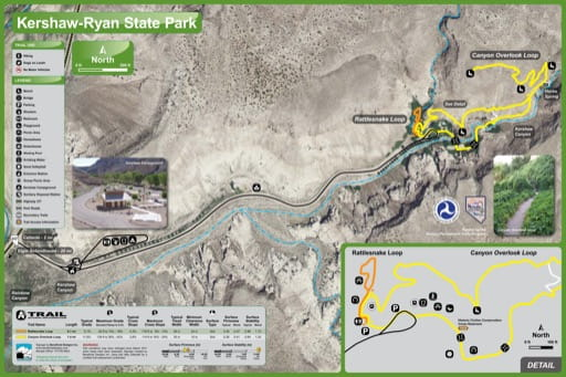 Recreation Map of Kershaw–Ryan State Park (SP) in Nevada. Published by Nevada State Parks.