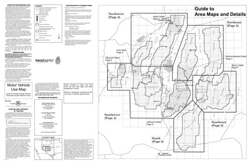Motor Vehicle Use Map (MVUM) of the Austin & Tonopah area in Humboldt-Toiyabe National Forest (NF) in Nevada. Published by the U.S. Forest Service (USFS).
