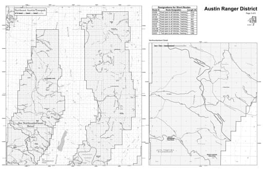 Motor Vehicle Use Map (MVUM) of the Northeast Austin/Tonopah area in Humboldt-Toiyabe National Forest (NF) in Nevada. Published by the U.S. Forest Service (USFS).