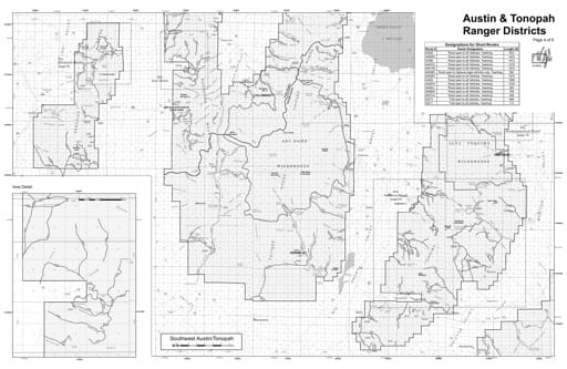 Motor Vehicle Use Map (MVUM) of the Southwest Austin/Tonopah area in Humboldt-Toiyabe National Forest (NF) in Nevada. Published by the U.S. Forest Service (USFS).