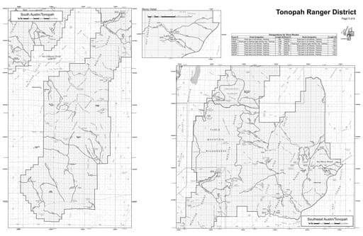 Motor Vehicle Use Map (MVUM) of the Southeast Austin/Tonopah area in Humboldt-Toiyabe National Forest (NF) in Nevada. Published by the U.S. Forest Service (USFS).